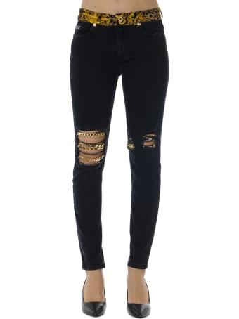 Versace Jeans Couture Black Cotton Baroque Print Pants