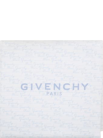 Givenchy White Blanket For Babyboy With Logo