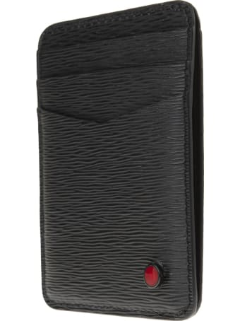 Kiton Black/red Leather Logo-plaque Cardholder