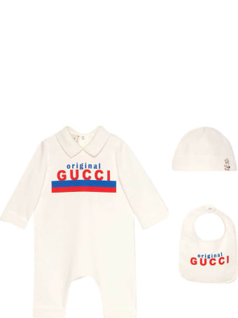 Gucci White Baby Set With Print