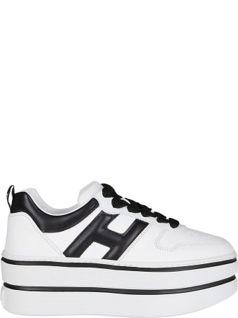 Hogan Black And White Leather Flatform Sneakers