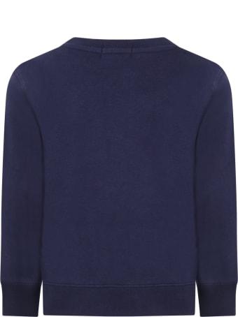 Ralph Lauren Blue Sweatshirt For Kids With Iconic Bear
