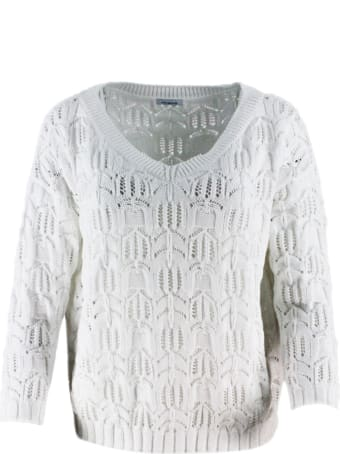 Malo Oversized Sweater With V-neck Long Sleeve With Three-dimensional Effect