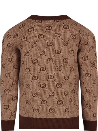 Gucci Beige Kids Cardigan With Double Gg