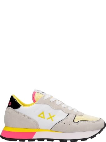Sun 68 Ally Sporty Sneakers In White Suede And Fabric