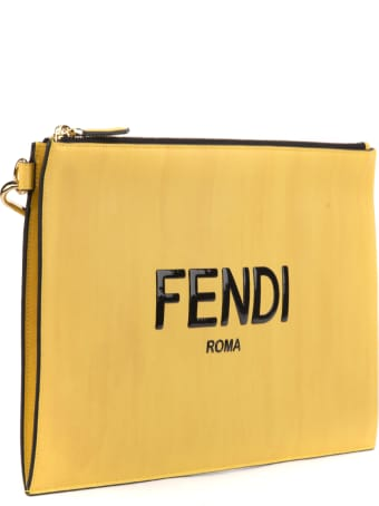 Fendi Fendi Yellow Flat Pouch In Leather