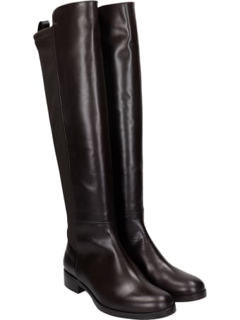 Fabio Rusconi Low Heels Boots In Brown Leather