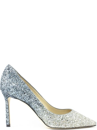 Jimmy Choo Blue And Silver Glitter Pumps