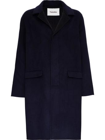 Nanushka Single-breasted Blue Wool Coat