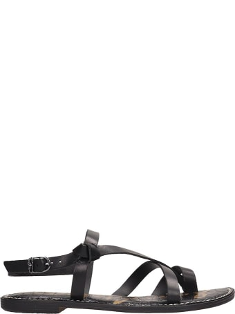 Sam Edelman Black Leather Gladis Flats Sandals