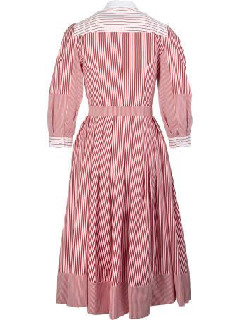 Alexander McQueen White And Pink Striped Patchwork Shirt Dress