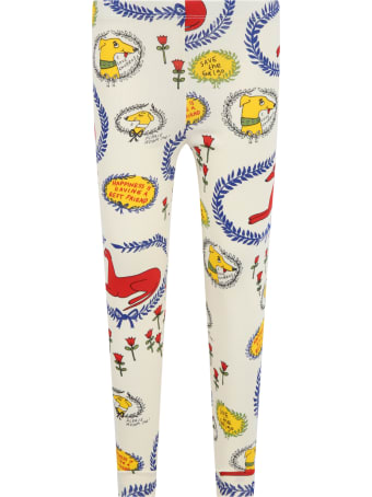 Mini Rodini Ivory Leggings For Kids With Dogs And Flowers