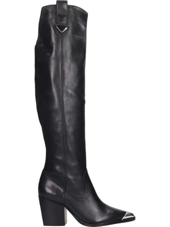 Schutz Bota Boots In Black Leather