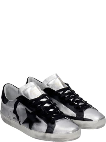 Golden Goose Superstar Sneakers In Silver Suede And Leather