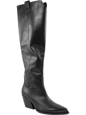 Elena Iachi Black Leather High Boots