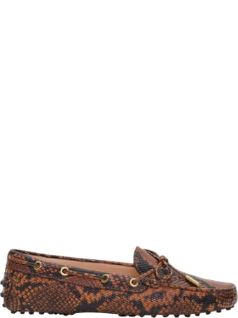 Tod's Heaven Gommino Driving Shoes In Python Pritned Leather