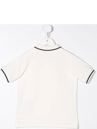 Moncler White Polo Shirt With Small Logo And Contrast Profiles