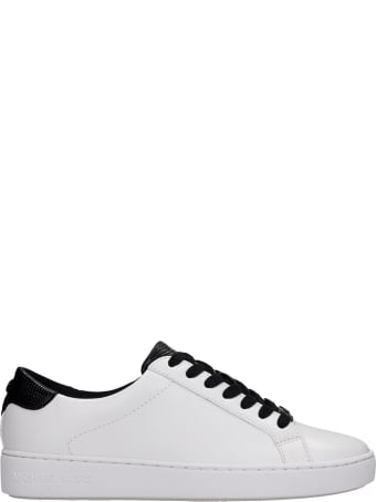 Michael Kors Irving  Sneakers In Black And White Leather