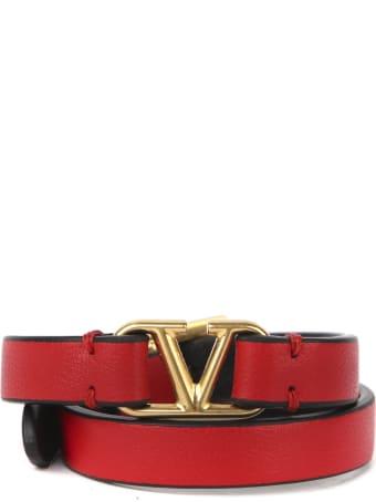 Valentino Garavani Vlogo Double Bracelet In Leather