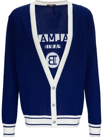 Balmain Wool Cardigan With Back Logo
