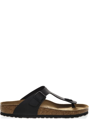 Birkenstock Gizeh Flip Sandals Black In Birko Flor Fabric