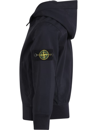 Stone Island Junior Blue Jacket For Boy With Iconic Patch