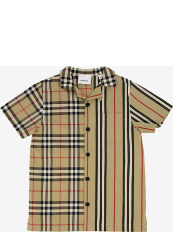 Burberry Jay Short Sleeves Archive Check And Stripe Allover
