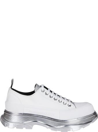 Alexander McQueen White Leather And Canvas Sneakers