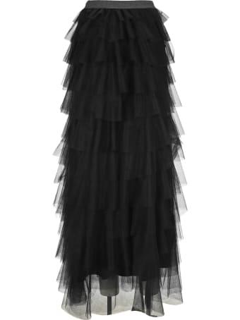 Fabiana Filippi Black Label Flounces Tulle Long Skirt