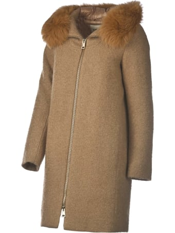 Herno Herno Wool Blend Coat With Fox Fur