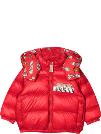 Moschino Red Padded Jacket With Frontal Logo