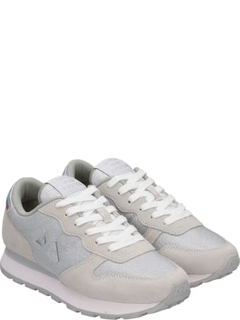 Sun 68 Ally Thin Sneakers In White Glitter