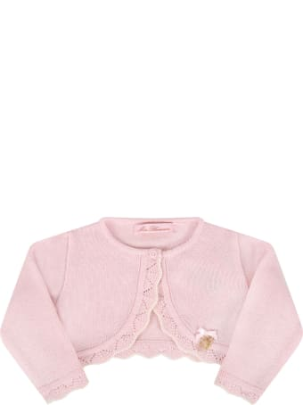 Blumarine Pink Cardigan For Babygirl With Logo