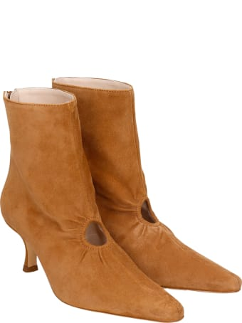 Kalda Luna High Heels Ankle Boots In Brown Suede