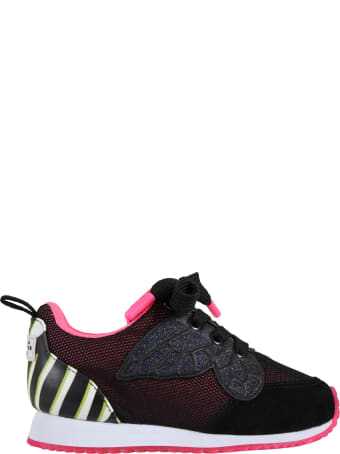 Sophia Webster Mini Black Sneakers For Girl With Butterfly