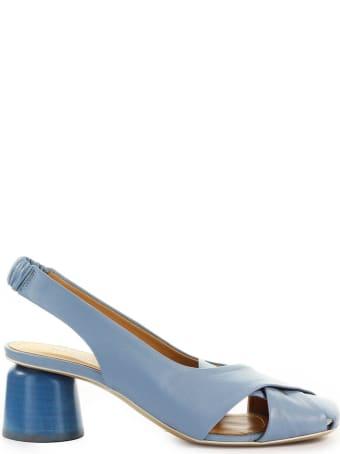 Halmanera Light Blue Nappa Leather Slingback Pump