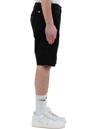 C.P. Company Garment Dyed Stretch Sateen Lens Pocket Shorts - Black