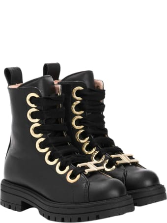 Elisabetta Franchi La Mia Bambina Black Boots With Gold Details Elisabetta Franche La Mia Bambina