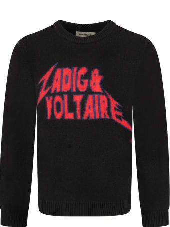 Zadig & Voltaire Black Boy Sweater With Blue And Red Logo