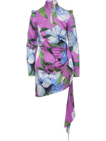 Giuseppe di Morabito Floral Asymmetrical Short Dress With Draping