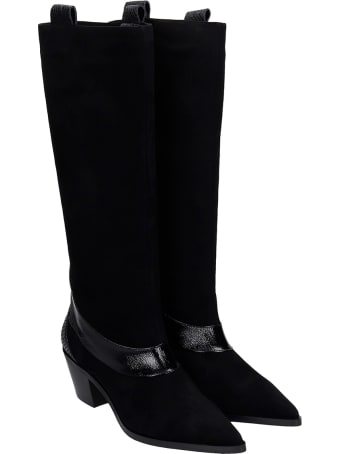 Alchimia Texan Boots In Black Suede