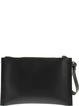 Brunello Cucinelli Polished Calfskin Clutch Bag With Precious Edges Black