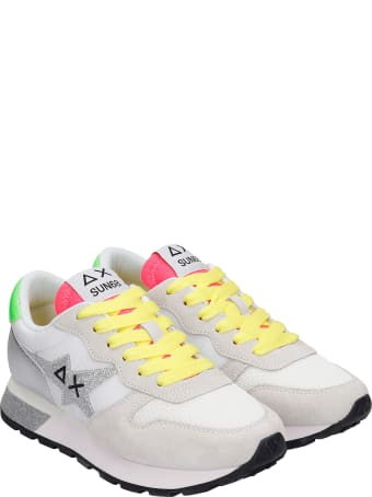 Sun 68 Ally Star Sneakers In White Synthetic Fibers