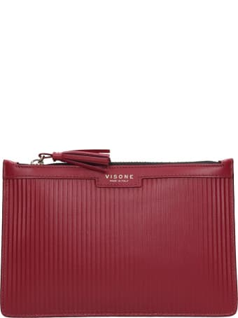 Visone Kim Striato Clutch In Bordeaux Leather