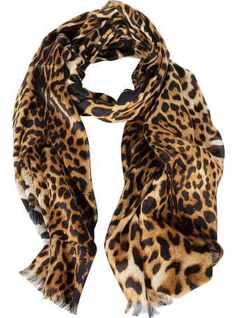 Saint Laurent Leopard Print Frayed Edge Scarf
