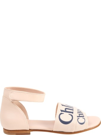Chloé Pink Sandals For Girl With Logo