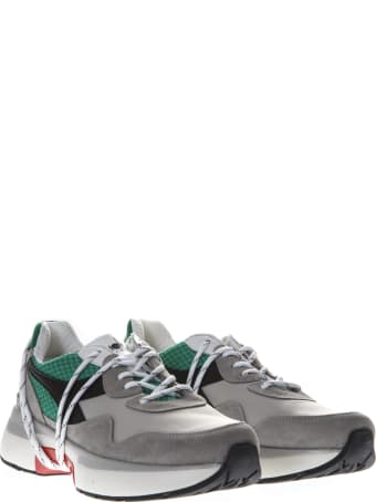 Diadora Heritage Grey & Green Nylon & Suede Sneakers