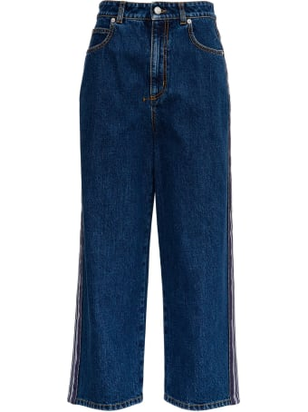 Alexander McQueen Wide Denim Jeans With Side Band
