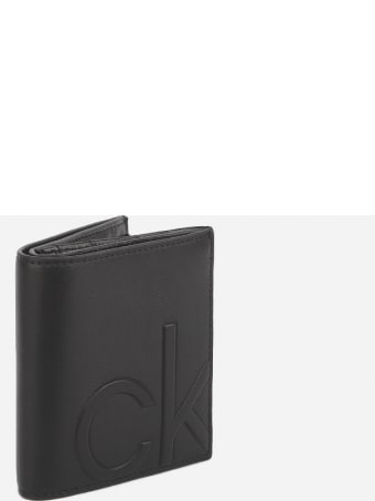 Calvin Klein Trifold Wallet In Leather With Inlaid Logo