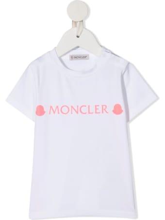 Moncler White Newborn T-shirt With Pink Logos